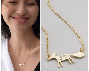 Small Fox personalized Necklace choice of PN009