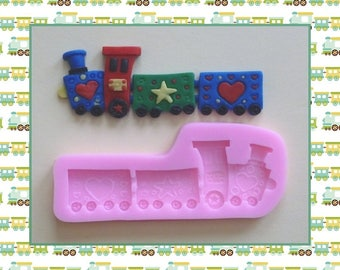 Silicone mold: Train - engine and car.