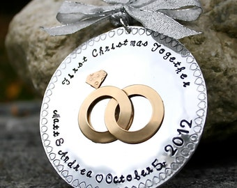 Hand Stamped First Christmas Together Ornament - Hard Anondized Aluminum - LARGE 3 inch disc