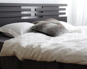 White linen DUVET COVER SET duvet cover + oxford style pillowcases in full, queen, king and custom sizes