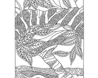 Coloring page from my book Trees & flowers, coloring book for adults