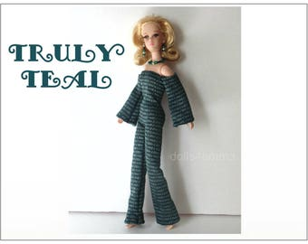 FRANCIE Doll Clothes - Retro Jumpsuit and Jewelry - fits Twiggy, Casey - Custom Fashion - by dolls4emma