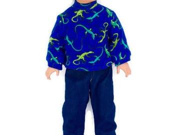 Lizard T-shirt, Blue Jeans, 18 Inch Boy Doll Clothes, Blue T-shirt with Green Lizards, Winter Doll Clothes