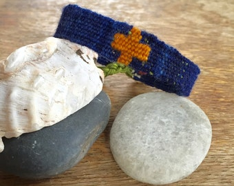 Hand woven 'Blue Wave' cuff