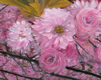 """Cherry Blossoms: Original Painting, Oil on Canvas, 12"""" x 24"""""""