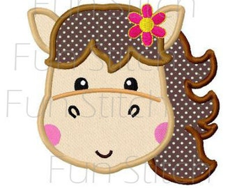 Girly pony horse applique machine embroidery design