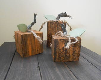 Rustic Wooden Pumpkins - Set of 3