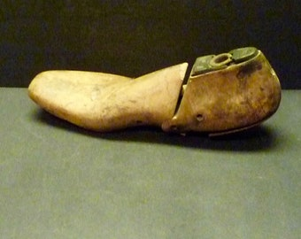 Wooden Shoe Form- unusual shape and detail- metal heel plate
