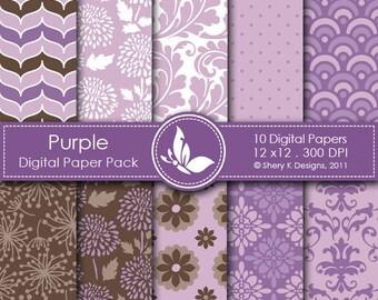 Purple Paper Pack - 10 Printable Digital Scrapbooking papers - 12 x12 - 300 DPI