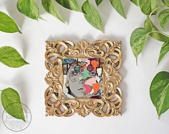bohemian art - mixed media collage - boho decor - gypsy wall art