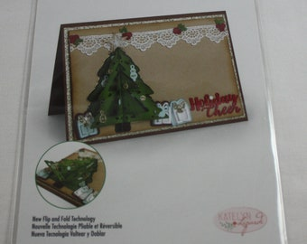 Christmas Tree Die Set of 9 Sizzix Flip & Fold 662281 Holiday Cheer Holly Stars Presents Ornaments Bow Package