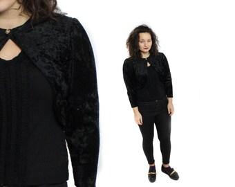 Velvet bolero, Black jacket, Vintage Velvet jacket, Velveteen jacket, Vintage bolero jacket, Black Velvet cardigan, Velvet cover up / Medium