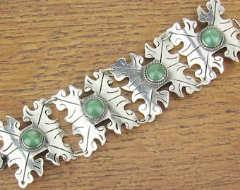 Vintage Mexican Sterling Silver bracelet Snowflakes jewelry hand made Mexico 4 panel with natural green Aventurine stones Old Mark