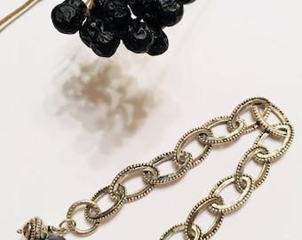 Oval dot bracelet, unique design, oval links silver bracelet, hand made silver  bracelet , oval Links bracelet with charm and black pearl