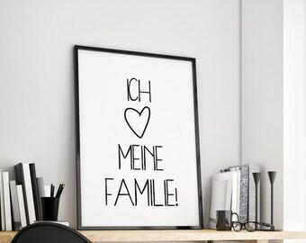 I love my family gift family art print, fine art print