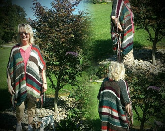 Ready to Ship Hand-knit Poncho Wrap Shawl FREE Shipping in USA