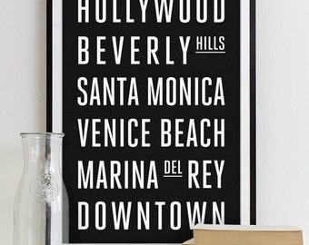Wall Art Subway Sign Typography Poster - Modern Art Print LOS ANGELES City