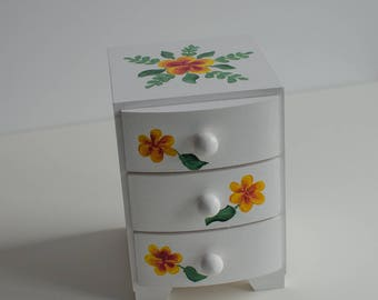 Box with 3 drawers, white wooden box with flowers,jewerly casket,rings holder,necklaces,jewerly,birthday,anniversary,yellow flowers