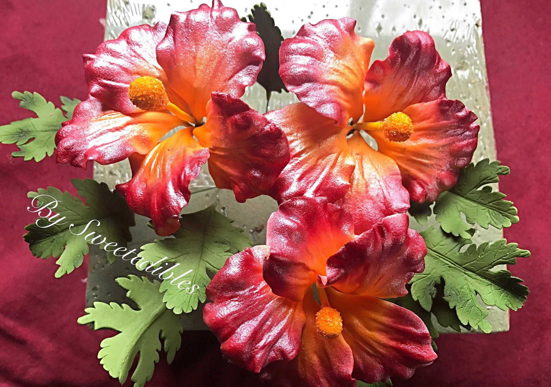 Gum Paste Hawaiian Hibiscus Flower Cake Decorations Red