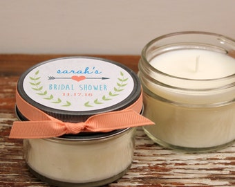 Set of 12 - 4 oz Soy Candle Bridal Shower Favors - Ivy Label - Rustic Bridal Shower Favors, Mason Jar Bridal Shower Favors
