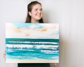 """Original ocean painting, """"Boundless"""" measuring 24x18inches"""