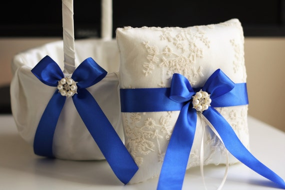 Royal Blue Wedding Ring Holder Blue Wedding Basket Blue Ring