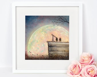 Bee Art, Bumblebee Art Print, Astronomy Lover's Gift, Quirky Gift Idea, Insect Wall Art, Full Moon Art, Home Decor, Bee Print, Moon Print