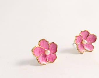 Minimalist Imitation Pearls Cherry Blossoms Gold Brass Side Silver Stud Earrings/ Stud Posts Earrings,everyday post earrings(SE031)