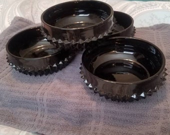 Tiara black glass bowls diamond point look cereal or soup bowls set of 4