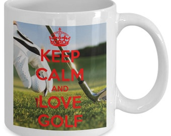 Keep calm and love golf mug