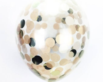 "Gold Confetti Balloon  - Choose 11, 16, or 36 inch  - Pearlized and Metallic Gold  1"" Circles of Tissue Confetti - Pre-Filled Balloon"
