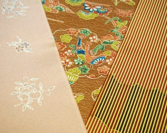 Vintage Japanese silk kimono fabric pack for craftwork patchwork quilting VP17