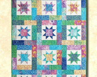 "QUILT PATTERN ""Lucky Stars"" Atkinson Designs Pieced Project Fat Quarter Friendly DIY Quilt Template Crib Lap Twin Queen King Size"
