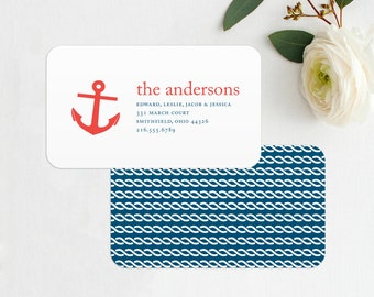 Anchor Nautical Business Card, New Address Card, Mommy Card, Family Contact Card, Family Calling Cards, Family Business Cards, Mom Cards