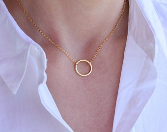 Circle Necklace - Dainty Gold Circle Necklace - Dainty Necklace - Gold Filled - Minimal Necklace - Minimalist Necklace