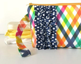 diaper and wipes clutch -- checkered summer