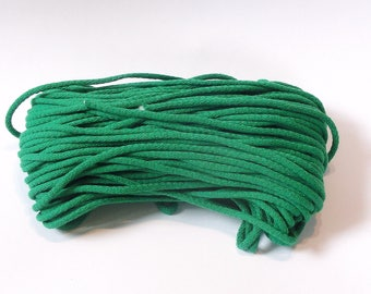 Macrame green cotton cord 50 m (55 yd) 5 mm (0,2 in), cotton rope, macrame cord
