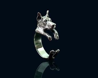 Sterling Silver Doberman Ring, Doberman Pinscher, Silver Doberman Jewelry, Sterling Silver Ring Doberman, Ring Silver Doberman, Silver Rings