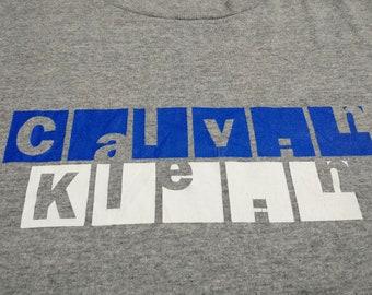 Vintage 90's Calvin Klein t shirt size XL made USA heather gray block