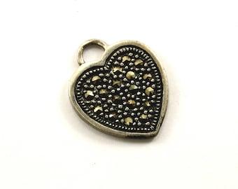 Vintage Heart Shape Design Marcasite Pendant 925 Sterling  PD 412-E