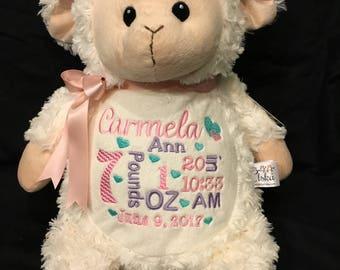 birth announcement stuffed animal, baby announcement plush animal, personalized stuffed animal baby gift, monogrammed gift,Little Elska Lamb