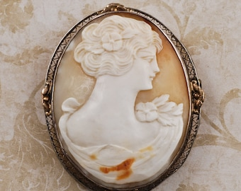Sterling silver gold wash carved shell cameo