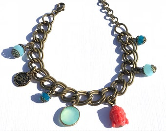 Sidharta charm bracelet, Peruvian Opal crystal jewelry