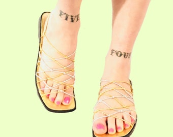 Silver and Gold shiny strappy sandals