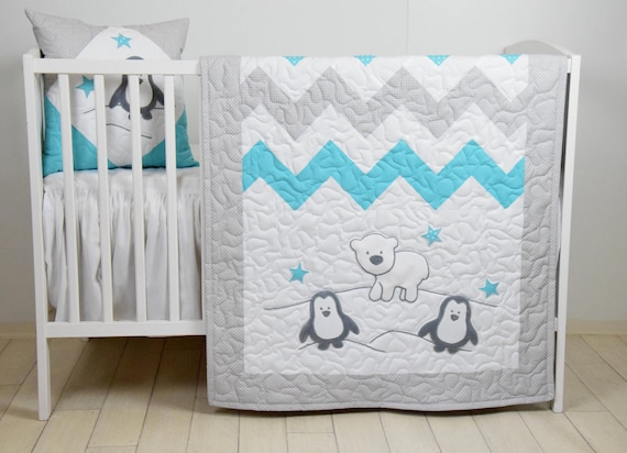 Penguin Baby Quilt, Chevron Gray Aqua Toddler Blanket, Handmade Crib Bedding for Baby Boy or Baby Girl