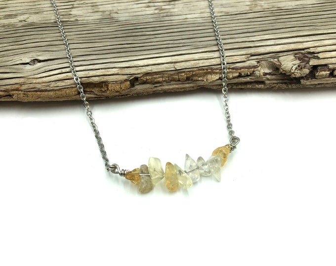 CITRINE: stainless steel gemstone healing necklace
