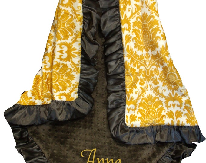 Brown and Gold Damask Minky Baby Blanket, Mustard  Minky Swaddle Wrap