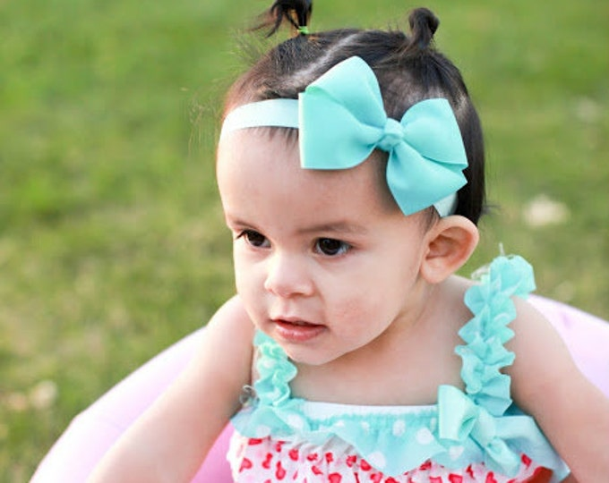Aqua Bow Band - Aqua Bow on an Elastic Headband Baby Infant Toddler - Girls Hair Bows
