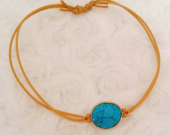 Cotton bracelet, gold and turquoise enamel - Agathe and Ana