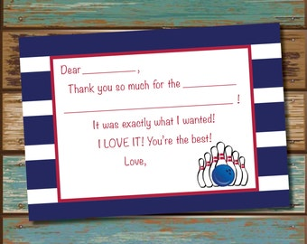 Bowling Fill In Thank You Cards